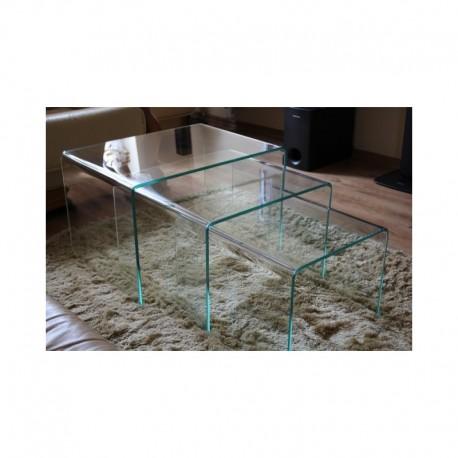 Skleněný stolek Trio střední Sklomat